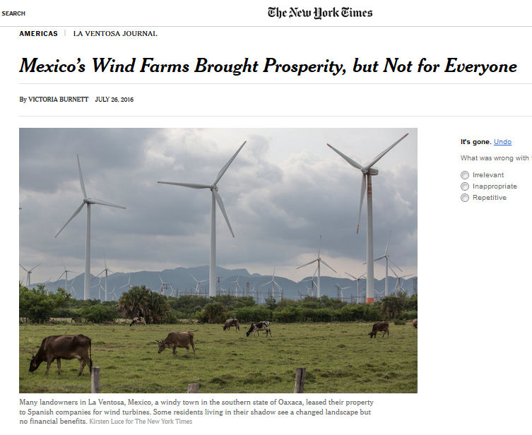 new york times eolicos